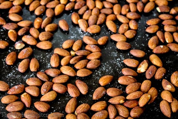 Dry Roasted Almonds on a baking sheet
