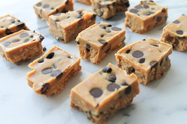 Peanut Butter Chocolate Chip Freezer Fudge cut into bars