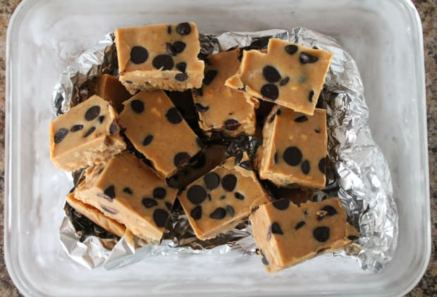 Peanut Butter Chocolate Chip Freezer Fudge in a frozen dish