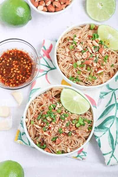 Vegan Pad Thai garnished with fresh slices of lime