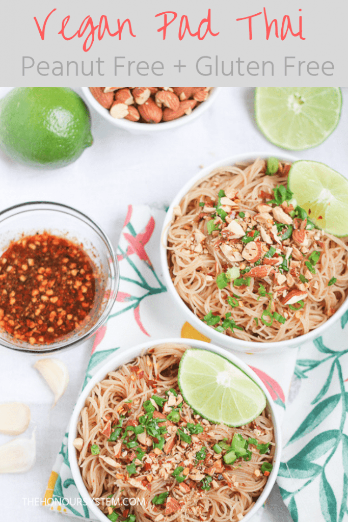 This flavourful Vegan Pad Thai is so quick to whip up! Sweet and spicy with hits of citrus. Using roasted almonds makes this meal peanut allergy friendly! #veganrecipes #dinnerecipes #healthyfood
