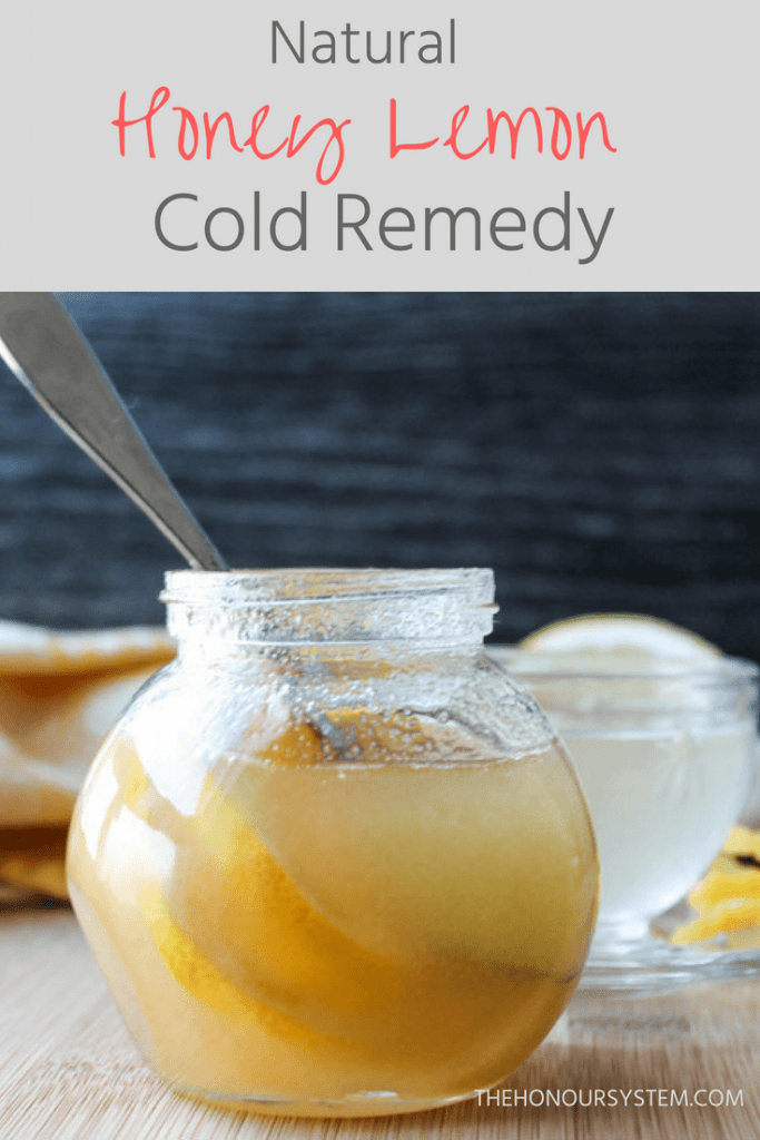 Pinterest graphic of Natural Honey Lemon Cold Remedy