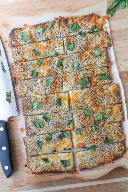 Roasted Garlic Quinoa Crust 'Flatbread' with Fresh Basil-9