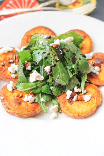 Arugula Salad with Roasted Sweet Potatoes & Goat Cheese - Gluten Free-