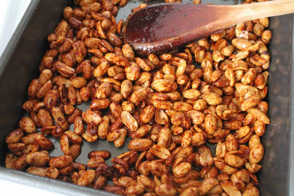 roasted nuts being stirred