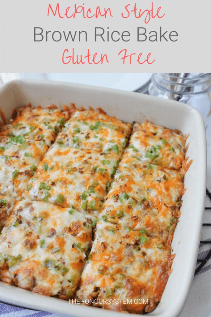 Mexican style rice is so popular why not spin it into a full on meal? By using the whole grain rice this Mexican Brown Rice Bake is much more nutritious making it a fabulous gluten free choice the family will gobble up. Packed with protein, this cheesy chicken dinner will become a staple in your home. #healthy #glutenfree #cheesy #chicken #dinner #recipe