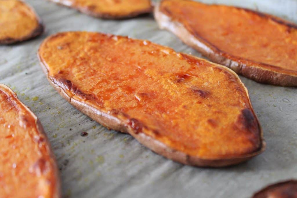 slices of toasted sweet potatoes