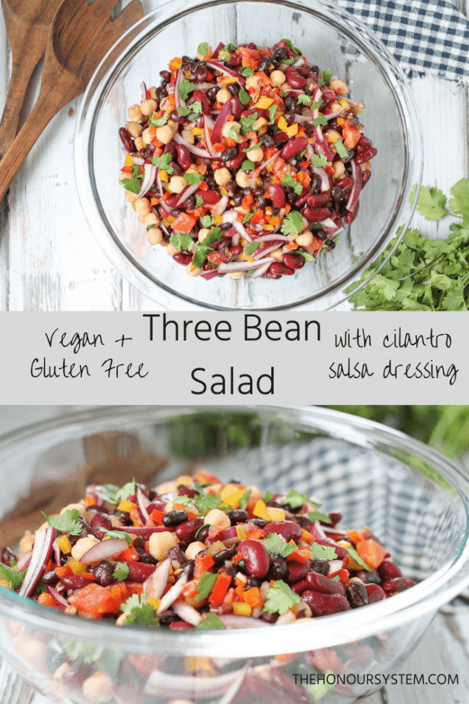 Clean Three Bean Salad with Cilantro Salsa Dressing