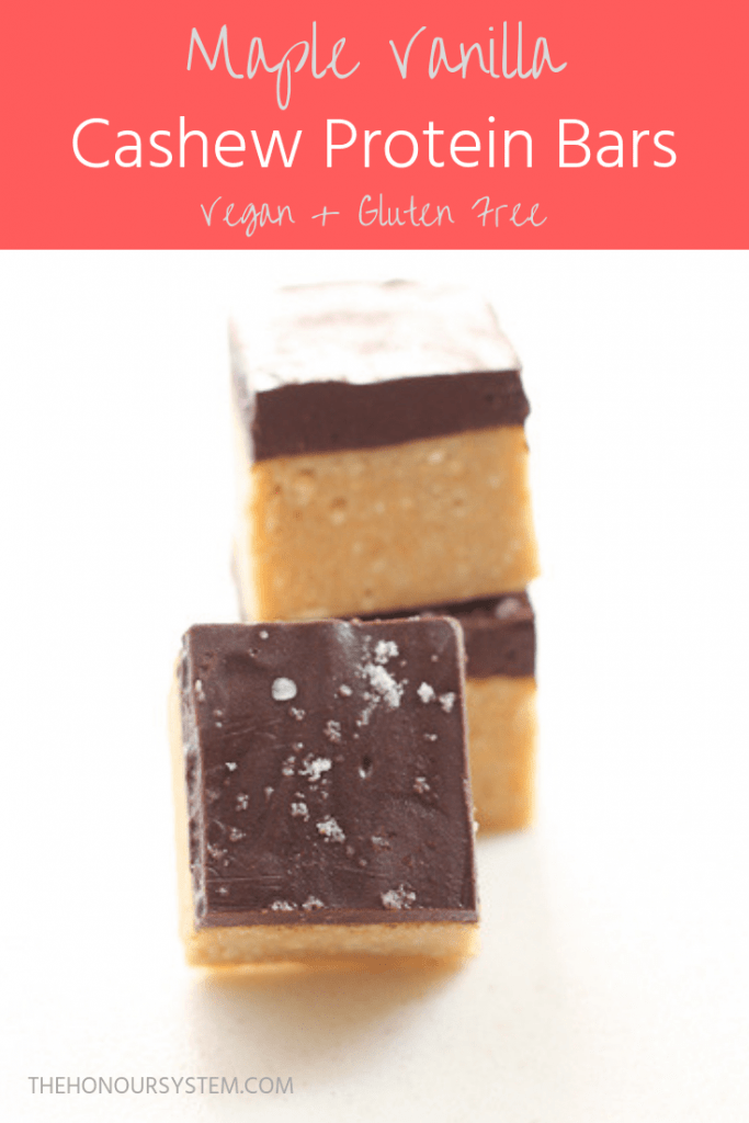 Maple Vanilla Cashew Protein Bars Pinterest graphic