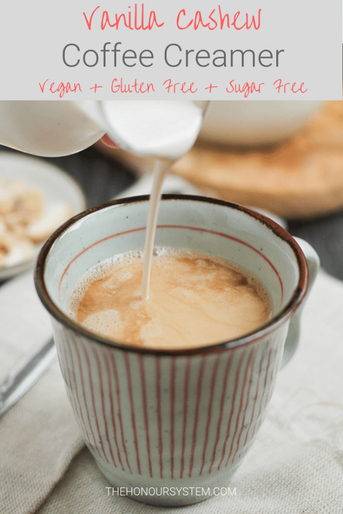 Avoiding dairy and sugar but still want to enjoy your morning coffee? This Vanilla Cashew Coffee Creamer is vegan, gluten free and completely sugar free. #vegan #sugarfree #glutenfree